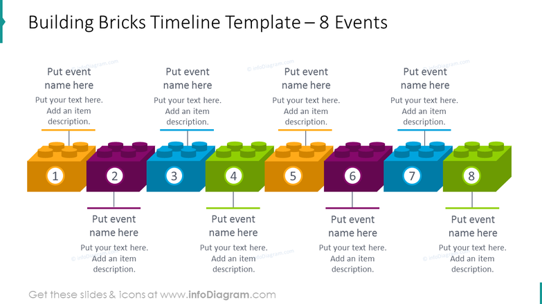 Horizontal building bricks timeline template with 8 events