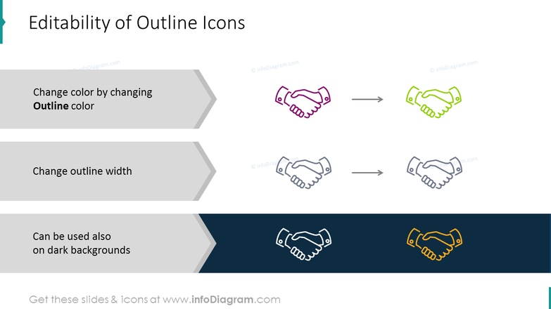 Editable outline icons on different background