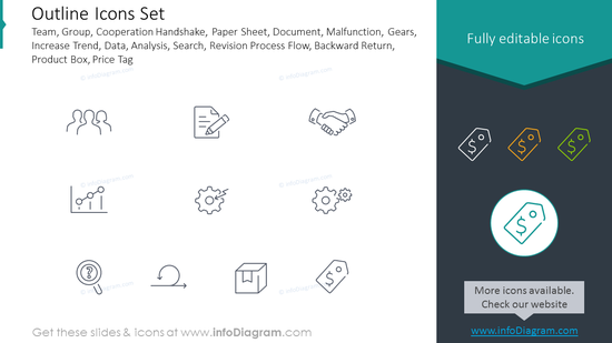 Outline Icons Set: Team, Group, Cooperation Handshake, Document
