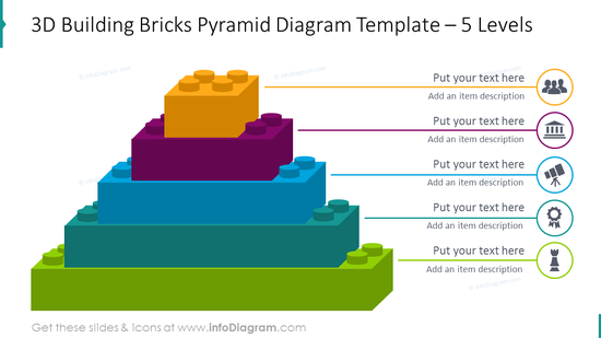 5 levels 3D bricks pyramid with flat icons