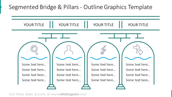 Four stages diagram illustrated with outline bridge and pillar graphics