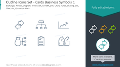 Outline icons set: cards, business symbols, Exchange, arrows