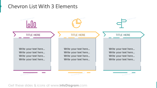 Chevron list illustrated with 3 elements