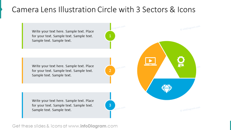 Camera lens illustration circle with 3 sectors and icons