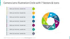 Camera lens illustration circle with 7 sectors and icons