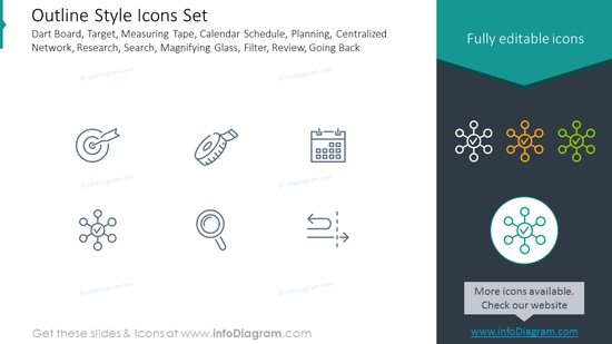 Outline Style Icons: target, measuring tape, calendar, planning