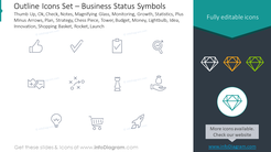 Outline icons set: business status symbols thumb up, OK, check, notes