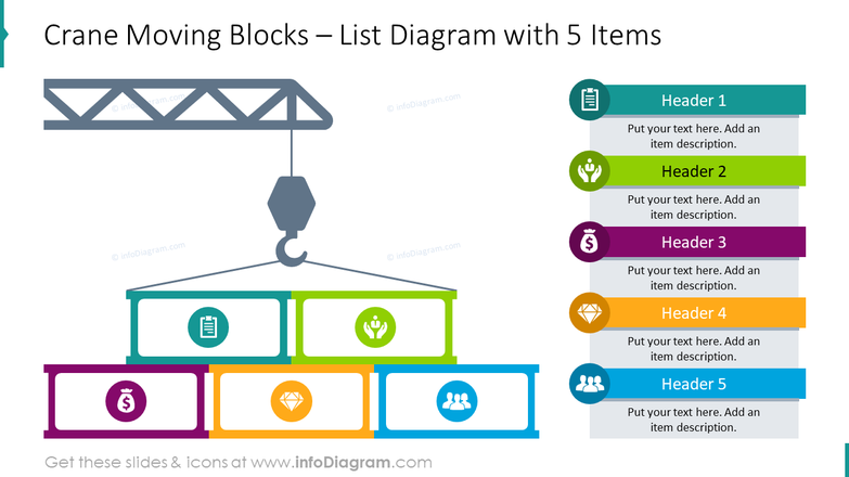 Crane moving blocks with list diagram for 5 items