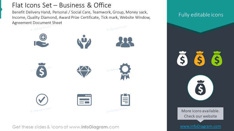 Flat icons: business, office, benefit, delivery hand, personal