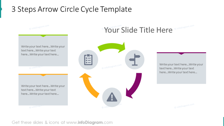 Arrow circle cycle template - 3 steps