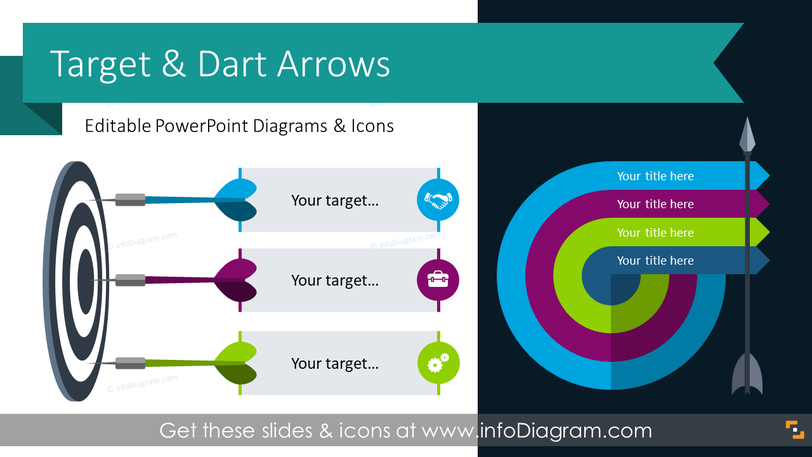Target Bullseye and Dart Arrows Graphics (PPT Template)