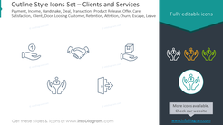 Outline icons set: payment, income, handshake, deal, transaction