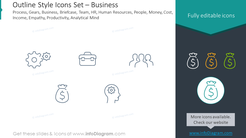 Outline icons set: business process, gears, business, briefcase
