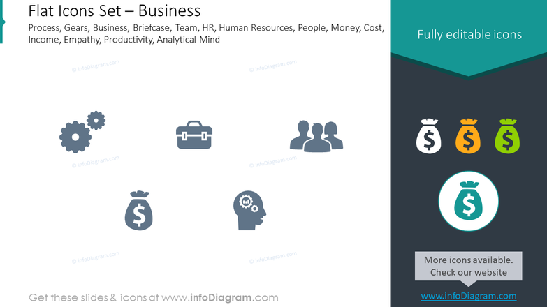 Flat icons set: business process, gears, business, briefcase