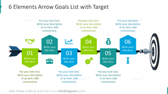 Six elements arrow goals list with target