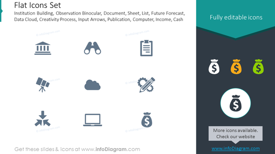 Flat icons: institution building, observation binocular, document,