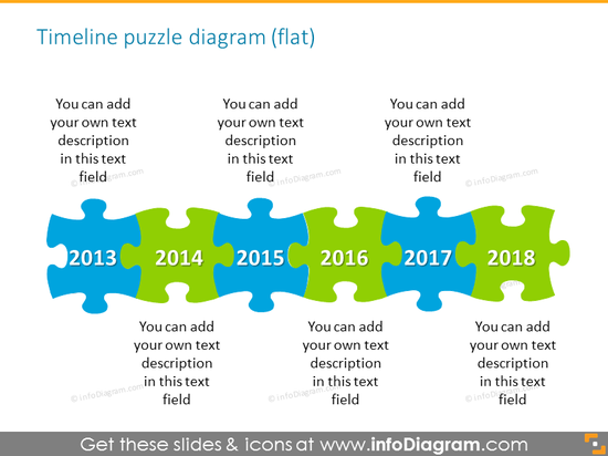 Timeline puzzle diagram flat style for 6 elements with place for description