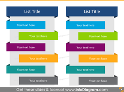 Ribbon List in color for placing 12 items in 2 columns