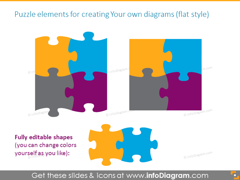 Puzzle elements for creating your own diagrams in flat style
