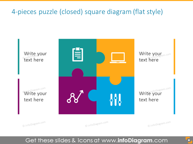 4-pieces puzzle with icons