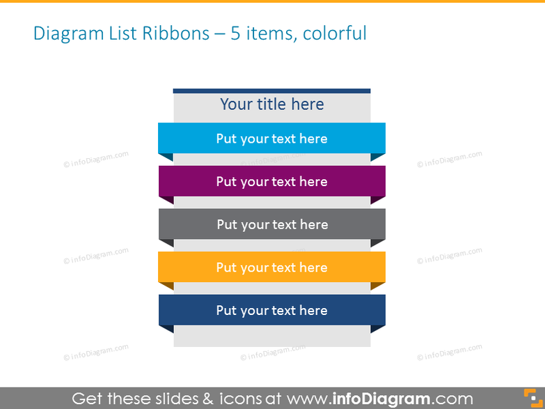 Diagram List Ribbons in color for placing 5 items