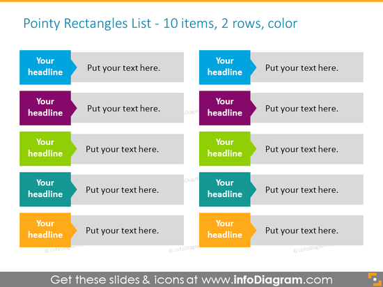 List for Placing Activities with rectangles in color for 10 items