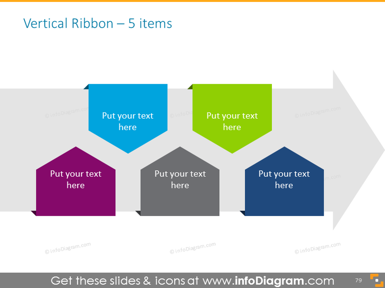 vertical ribbon timeline for 5 items with arrow on background