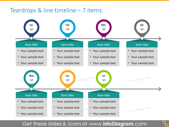 time infographics for 7 items with milestones and textboxes