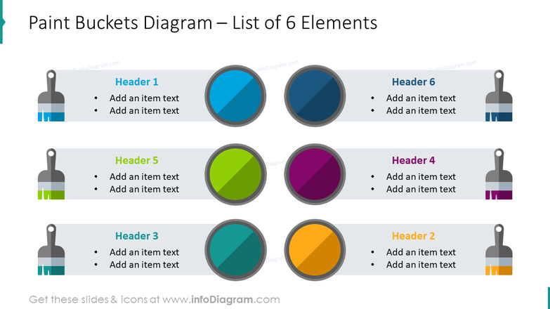 Paint buckets diagram with list of 6 elements