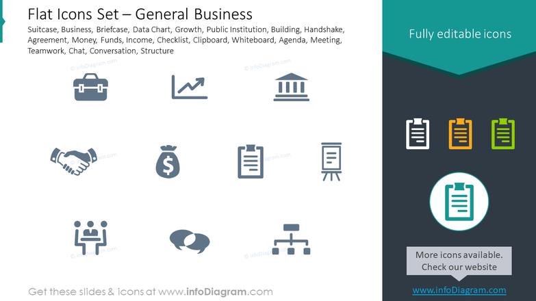 Flat icons set: general business suitcase, business, briefcase