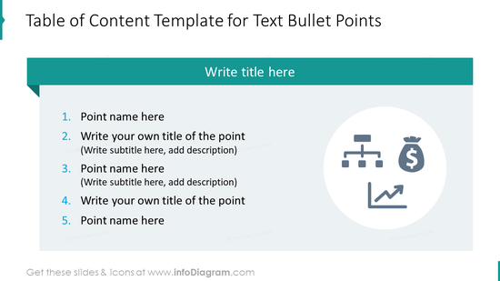Table of content template for text bullet points