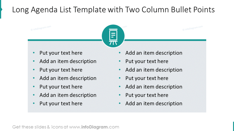 Long agenda list template with two column bullet points