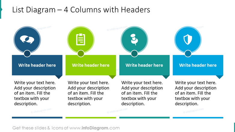 List diagram for 4 columns with headers