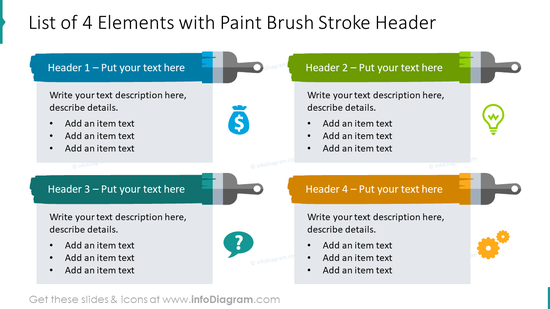 List of 4 elements with paint brush stroke header