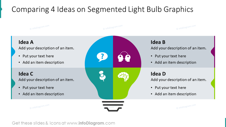 Comparing 4 ideas on segmented light bulb graphics