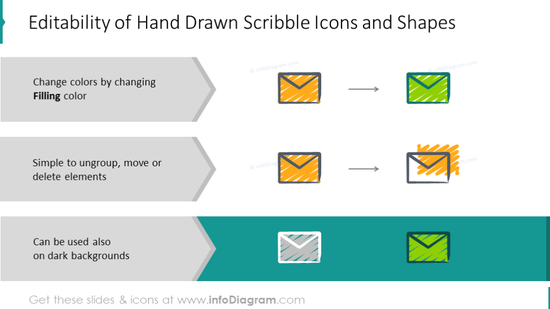 Hand drawn scribble icons and shapes