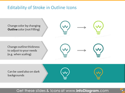 Stroke in outline icons