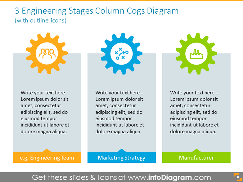 3 Engineering stages cogs diagram illustrated with outline icons