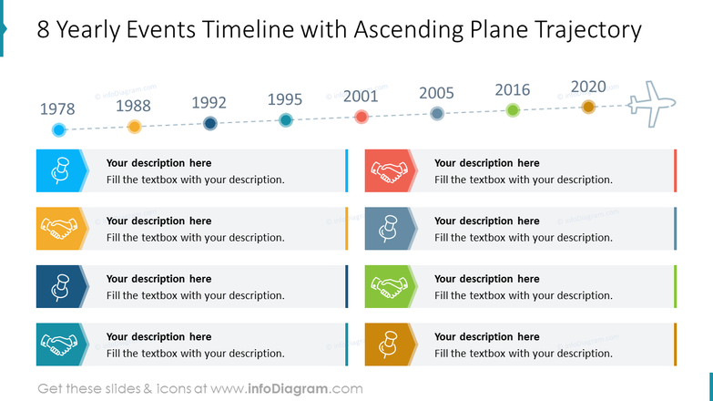 8 Yearly Events Timeline with Ascending Plane Trajectory