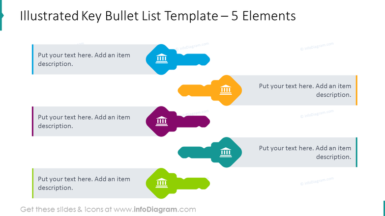Key bullet list template for 5 elements
