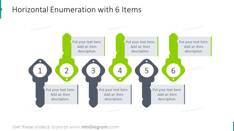 Horizontal enumeration slide for 6 items