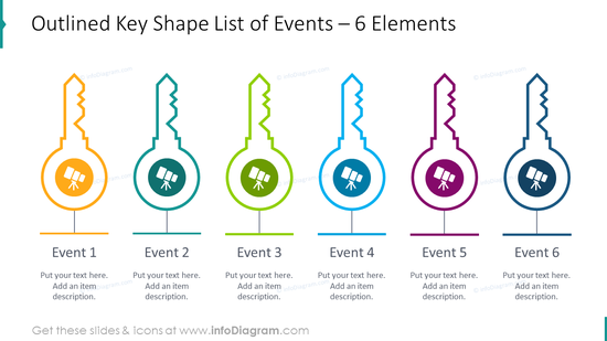 6 items designed as outlined key shape list for events