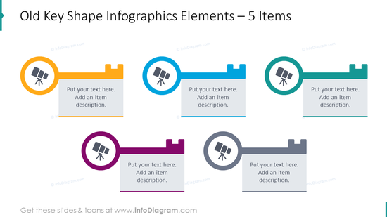 Old key shape infographics for 5 elements