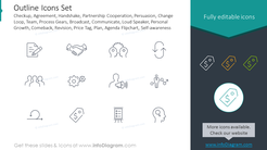 Outline Style Icons: agreement, handshake, partnership, persuasion