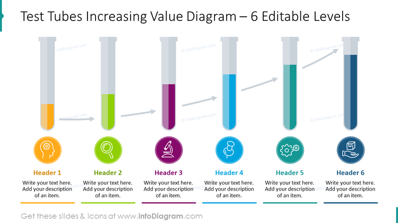 Test tubes increasing value diagram for six editable levels