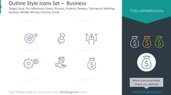 Outline icons set: target, goal, pin, milestone, gears, process