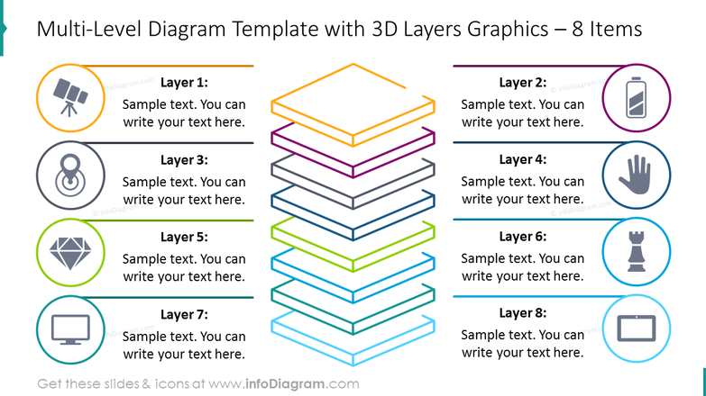Eight items 3D layers diagram with flat icons and text description