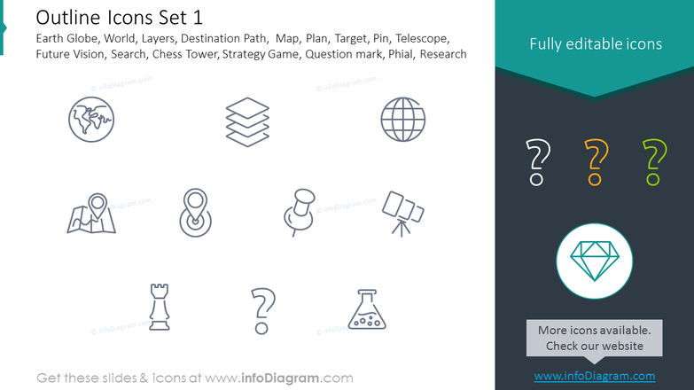 Icons Set: Earth Globe, Telescope, Chess Tower, Strategy Game