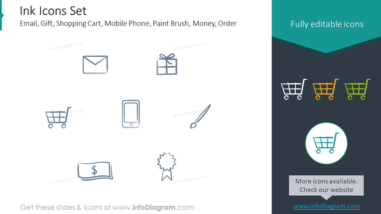Ink Icons Set: email, gift, shopping cart, mobile phone