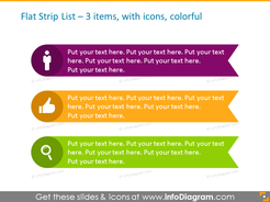 Circular List Template in color for placing 3 items, with icons